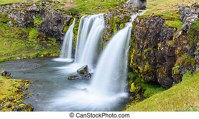 Waterfall at Kirkjufell mountain, Iceland - Beautiful...