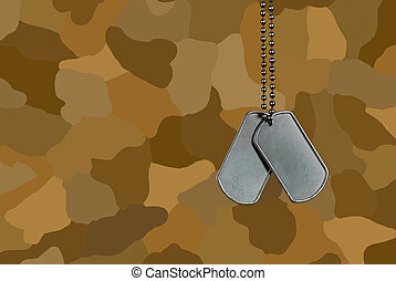 Dog Tags - Military dog tags on brown camouflage.