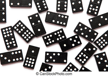 Domino blocks on the white background