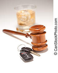 Gavel, Alcoholic Drink & Car Keys on a Gradated Background -...