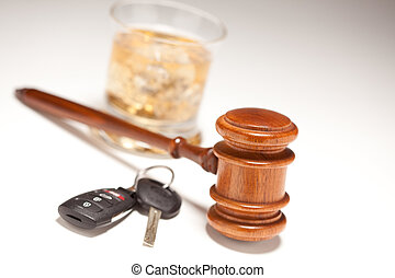 Gavel, Alcoholic Drink and Car Keys - Gavel, Alcoholic Drink...