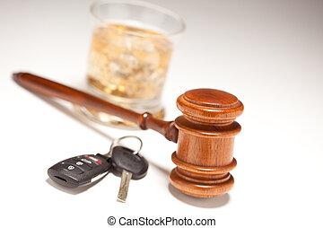 Gavel, alcoólico, bebida, &, car, teclas