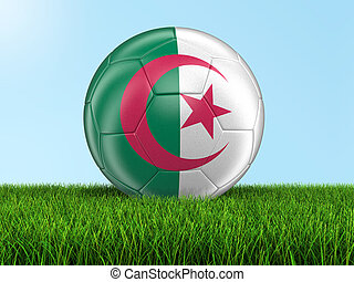 Soccer football with Algerian flag Image with clipping path