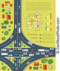 Road infographics with highways with lots of cars. Map of...