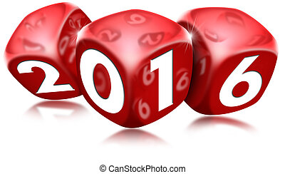 Dice 2016 Happy New Year - Three red dice with the written...