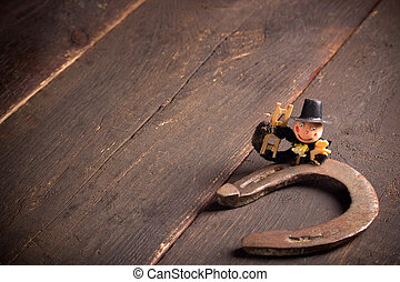 good luck - Horseshoe and chimney sweep on wooden table,good...