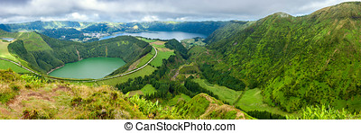 Lakes of Sete Cidades and Santiagot in Sao Miguel, Azores