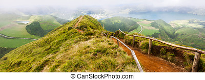 Walking path leading to a view on the lakes of Sete Cidades...