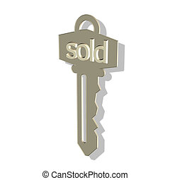 sold key - gold key with 3D writing - sold