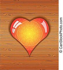 Heart on wood texture.