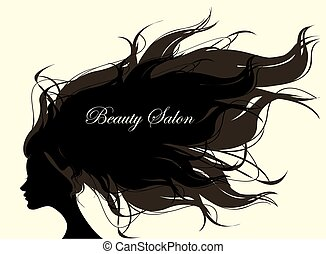 Fashion Woman with Long Hair. Vector Illustration. Stylish...