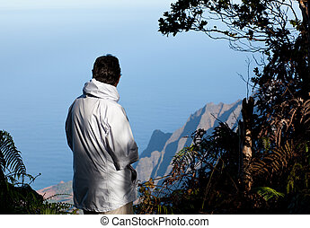 Lady overlooks Na Pali Coast - View over Kalalau Valley on...