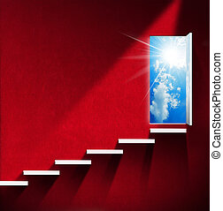 Stairway to Heaven - Red Room - Room with red wall and white...