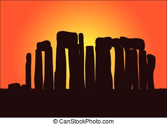 stonehenge - vector, sunset and the stonehenge monument...