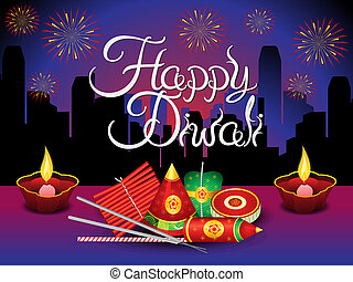 artistic diwali background with crackers - artistic detailed...