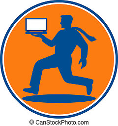 man carrying laptop computer running viewed from the side set inside a circle