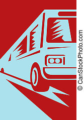 coach bus coming up towards the viewer - illustration of a...