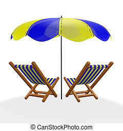 Two Blue Yellow Beach Loungers Under Parasol - A 3D...