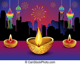 artistic diwali night background - artistic detailed diwali...