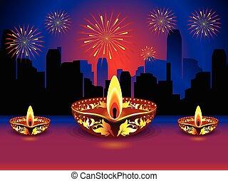 artistic detailed diwali background vector illustration