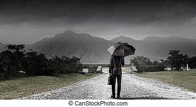 Businessman with umbrella - Back view of businessman with...
