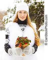 植物, 女, 冬, 彼女, 保有物, 手, 微笑
