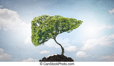 Green tree - Conceptual image with green tree growing in...