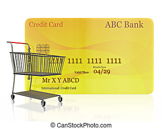 Shopping Cart in front of Credit Card