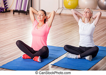 Attractive girls are doing for sports in fitness center -...