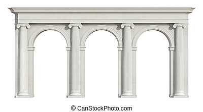Ionic colonnade on white - Ionic colonnade with three arch...