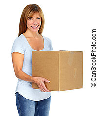 Woman with a moving box. Real estate concept.