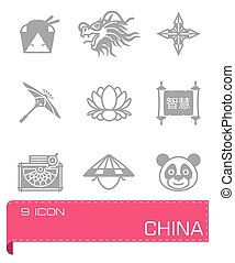 Vector China icon set