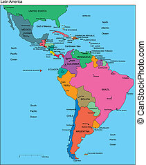 Latin America with Editable Countries, Names - Latin America...