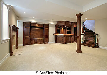 Basement with wood cabinetry - Basement in new construction...