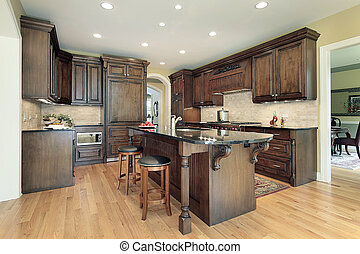 Kitchen with granite island top - Kitchen in new...