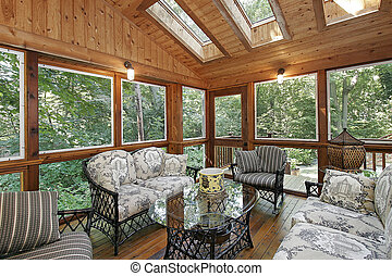 Wood paneled porch with skylights - Wood paneled porch in...