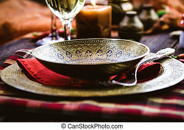 Restaurant setting - Restaurant autumn table setting Place...