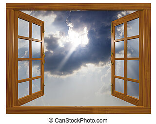 Sunburst Cloudscape through Open Wood Window - A 3D...