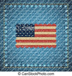 Vector denim background with USA flag in the middle