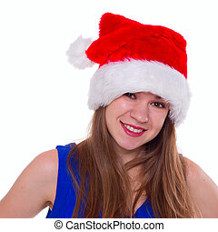 Expressive emotional girl in a Christmas hat on white background