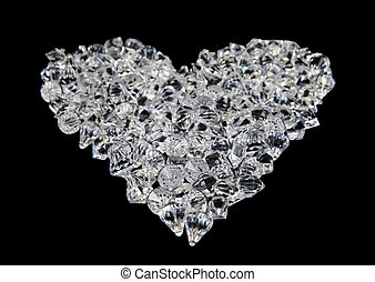 heart of diamonds on black - great love heart made of...