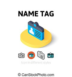 Name tag icon in different style - Name tag icon, vector...