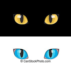 yellow cat eyes - The yellow cat eyes on the black...