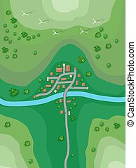 Landscape plan for a small town on the map