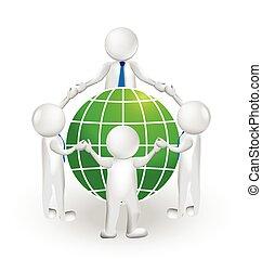 3D logo teamwork and world