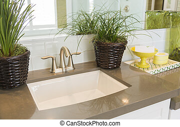 New Modern Bathroom Sink, Faucet, Subway Tiles and Counter -...