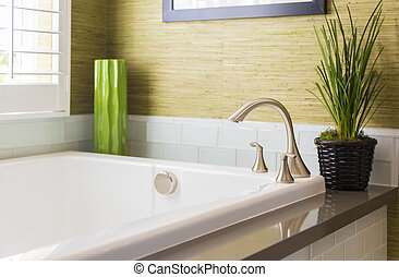 New Modern Bathtub, Faucet and Subway Tiles - Beautiful New...