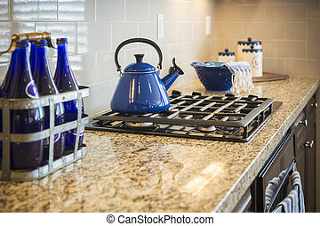 Marble Kitchen Counter and Stove With Cobalt Blue Decor -...