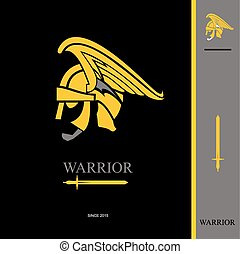 Warrior. Warrior Head. Warrior profile. side view of winged...