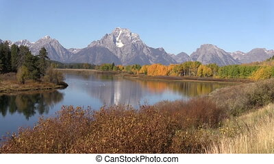 Pan of Autumn at Oxbow Bend - a pan of an autumn reflection...